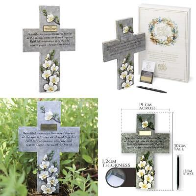 Orchid Valley Pet Memorial Grave Marker Cross Supplied with Blank Plaque for...