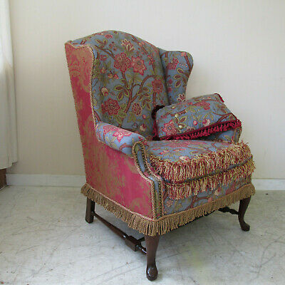 Colorful Vintage Wingback Chair Newly Upholstered With All The Frills