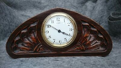 Stylish French Antique 8 Day Mantel, Bedroom Clock Carved Case
