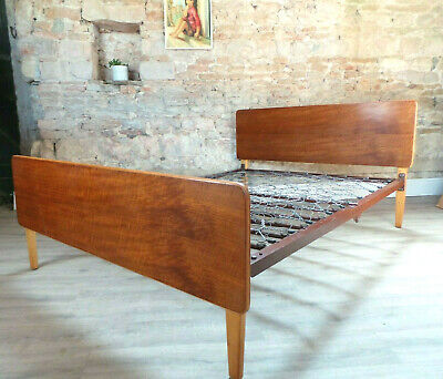 Vintage mid century 1950s 1960s Gordon Russell double bed walnut headboard VONO