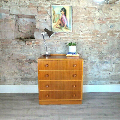 Vintage mid century 1950s 60s MEREDEW blonde oak & teak chest of drawers retro