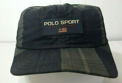 3a8d283540572 Vintage POLO SPORT Ralph LAUREN Hat Nylon MADE IN USA One Size Clip Snap  Back