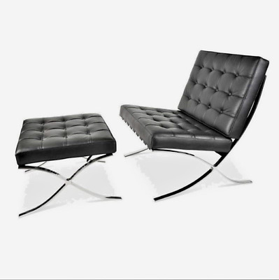 Mies Van Der Rohe Replica inspired Barcelona Chair AND matching Ottoman