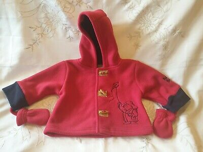 Paddington Bear Red Blue Fleece Coat With Mittens 3-6 Months Butlins New No Tags