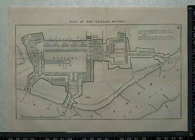 1849 Plan of the London Docks,London - River Thames, Pool of London, Wapping