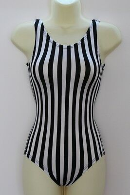 Leotard Black and White Stripe Lycra Adults X/S, S, M, L, X/L
