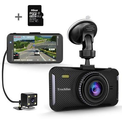 "Trochilus Dual Dash Cam 4"" 1080P Front and Rear Dash Cams, 170 Degree Wide Angle"