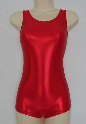 Boyleg Leotard Unitard Red Mystique Foil Finish ADULTS X/S, S, M, L, X/L