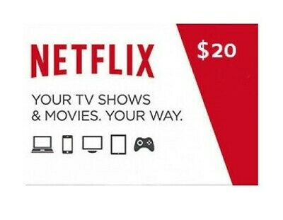 Netflix Gift Card $20 * 1- 2- 4 simultaneous connections