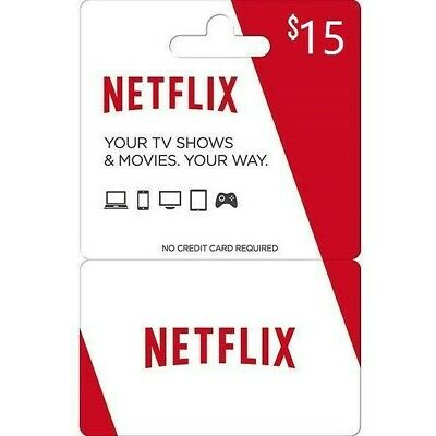 Netflix Gift Card $15 * 1- 2- 4 simultaneous connections
