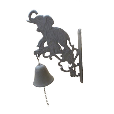 Cast Iron Wall Bracket Door Bell Elephant Garden Decor 14X8X22cm
