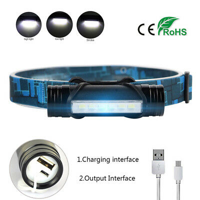 2 in 1 Mini Flashlight 6LED Headlamp Rechargeable Super Bright Torch +USB Cable