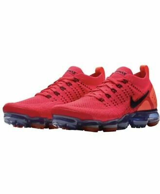 Nike Air Vapormax Flyknit 2 Shoes Red Orbit Obsidian Rouge AR5406-600 Men's NEW
