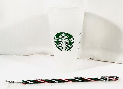 Starbucks Limited Edition RAINBOW STRAW W/Reusable Plastic Venti Cold Cup 24oz