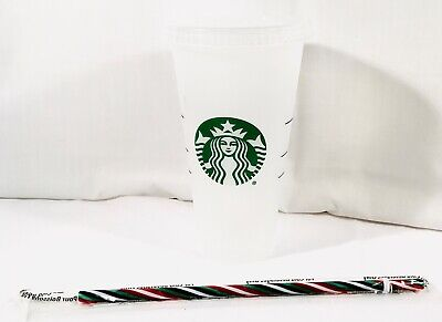 Starbucks Limited Edition XMAS STRAW W/Reusable Plastic Venti Cold Cup 24oz