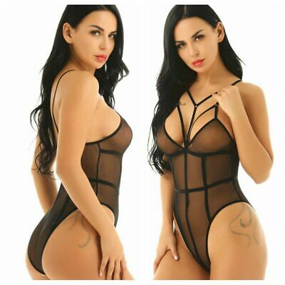 Women Sexy Sheer Mesh Bodysuit High Cut Leotard Teddy Thong Lingerie Sleepwear