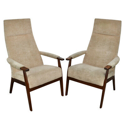 Pair of Parker Knoll PK1071-74 slim high back velour armchairs 1980s