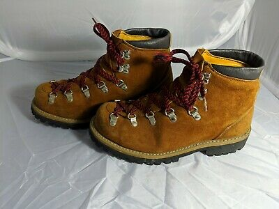 d03ccd0e39fba JC Penney Sanitized Vtg Leather Suede Hiking Work Boots Vibram Sole USA Sz  8.5