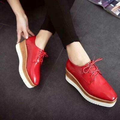 8a8ae0d1979a4 Women Mid Heels Creeper Shoes Wedge Platform Gothic Lace up Brogue Oxfords  Gifts