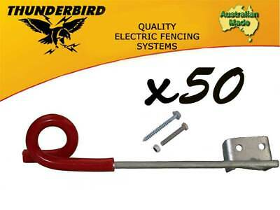 50 x Thunderbird 150mm Multirigger Pigtail Offset Insulator Electric Fence