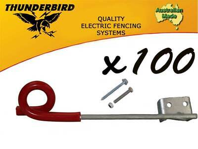 100 x Thunderbird 150mm Multirigger Pigtail Offset Insulator Electric Fence