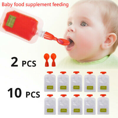 Fresh Squeezed Pouches Reusable Pouches Auxiliary Food Mud Baby Feeding Spoon