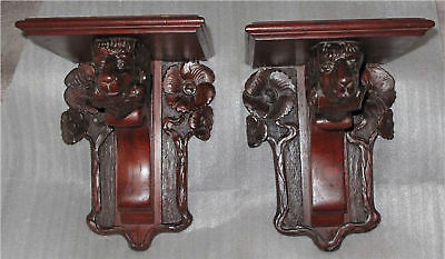 Antique Black Forest Carved Shelves - Ram Head 1880'S - 1900'S Superb