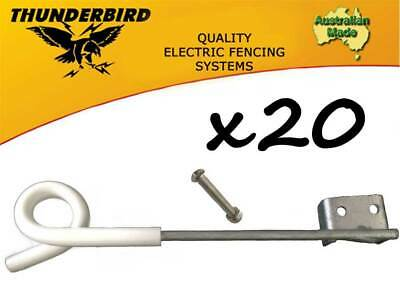20 x Thunderbird 250mm Multirigger Pigtail Offset Insulator Electric Fence