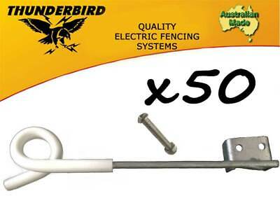 50 x Thunderbird 250mm Multirigger Pigtail Offset Insulator Electric Fence