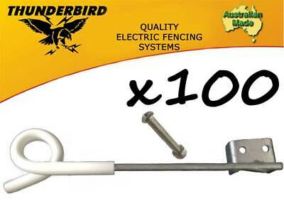100 x Thunderbird 250mm Multirigger Pigtail Offset Insulator Electric Fence