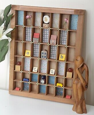 Lovely Small Decorative Printers Tray Artwork with Miniature Curios Included