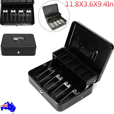 Portable Security Lockable Cash Box Tiered Tray Money Drawer Safe Black With Key