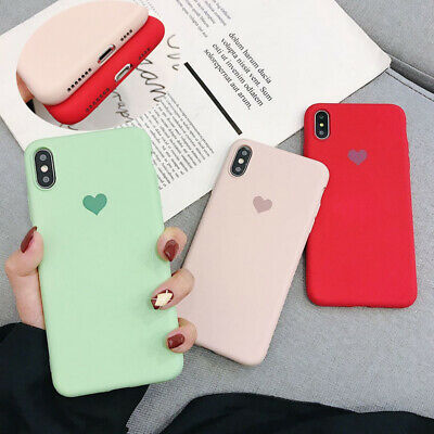 Shockproof Pure Color Heart Pattern Soft Case For iPhone XS Max XR 8 7 6S Plus