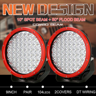 New OSRAM Pair 9inch LED Round Red Driving Lights Combo Work Offroad Truck 4x4