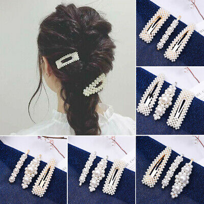 3Pcs/Set Women Girls Faux Pearls Decor Hairpins BB Hair Clips Hair Accessories