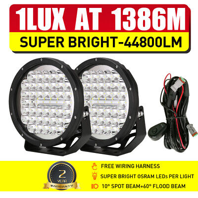 Pair 9inch OSRAM Round LED Driving Lights Work Spot Lamp Offroad Truck 4x4 BLACK