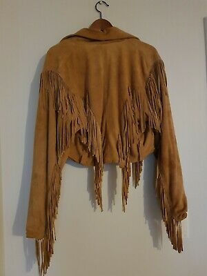 boho gypsy tan suede tasselled jacket original 70s vintage size 8 small
