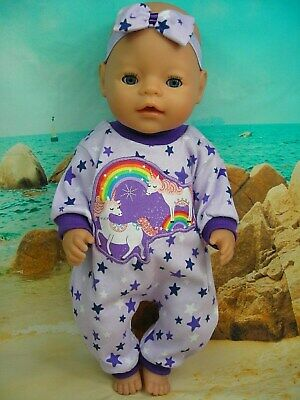 """Dolls clothes for 17"""" Baby Born/Cabbage Patch Doll~PURPLE STAR~UNICORN JUMPSUIT"""