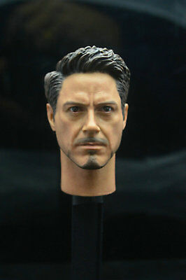 1/6 Scale Civil War Tony Stark Head Sculpt For Hot Toys Figure Body