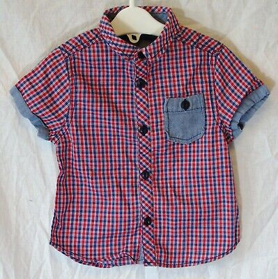 Baby Boys George Red White Blue Check Short Sleeve Casual Shirt Age 12-18 Months