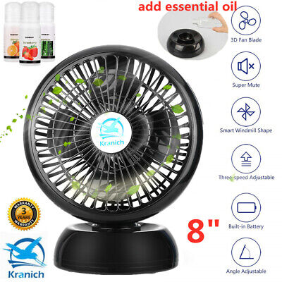 Mini 8'' Desk Fan Portable Silent Cooling Fan 360° Oscillating With 3X Oil Set