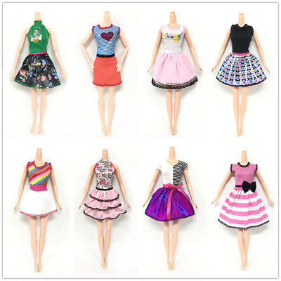 8Pc For Barbie Doll Dresses, Shoes,Jewellery Clothes Set Accessories New