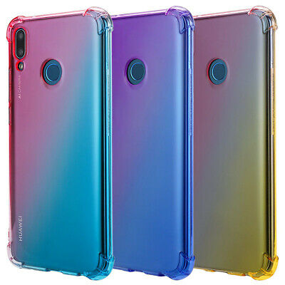 For Huawei Y6 Y7 Pro Y9 2019 Gradient Silicone TPU Bumper Soft Back Case Cover