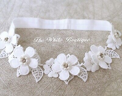 Baby Girl Off White Hair Band Headband Baptism Wedding Christening Bridal White