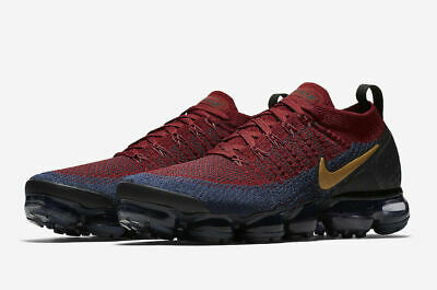 Nike Air Vapormax Flyknit 2 Shoes Red Obsidian Black Gold 942842-604 Men's NEW