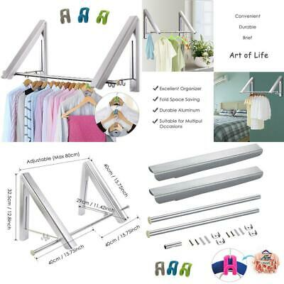LIVEHITOP Foldable Wall Mounted Clothes Rail 2 Pieces, Coat Hanger Racks...