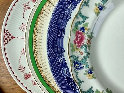 Mismatched China Dinner Plates ~ Set of 4 ~  Colorful Florals