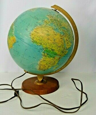 "Vtg Replogle 12"" World Horizon Series Light Globe Lamp Illuminated WORKING"