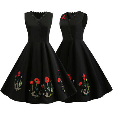 50S 60S ROCKABILLY DRESS Vintage Style Pinup Retro Housewife Swing Dress Ball