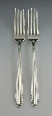 Pair Quality Art Deco Sterling Silver Reed & Barton Candide Dinner Forks